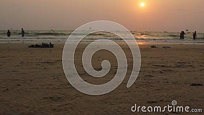 Povos que andam perto na batida durante o por do sol em Goa, praia de Bhaga video estoque