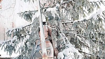 Powabna atrakcyjna dziewczyna z długimi prostymi czarni włosy pozami dla kamery w fantazja stylu wojownicza elegancka dama z zdjęcie wideo