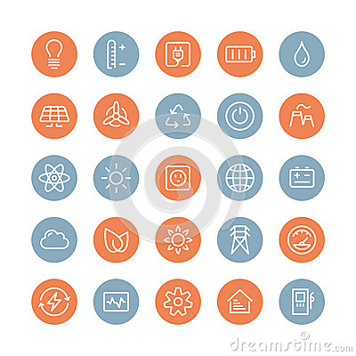 Free Power And Energy Flat Icons Set Stock Photos - 38055843