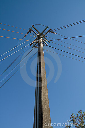 Free Power And Telephone Pole Intersection Stock Image - 5057391