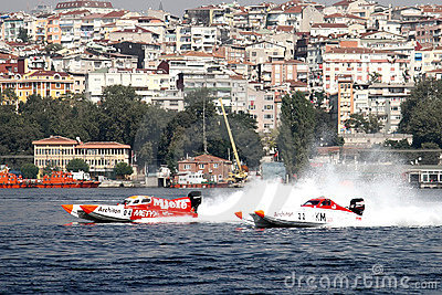 Power boats in challenge Editorial Photo
