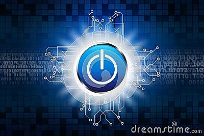 Power button on Digital background