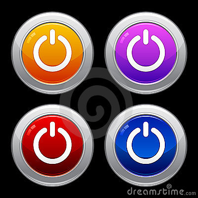 Power Button Icon Set EPS