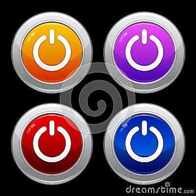 Power Button Icon Set EPS