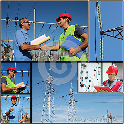 Free Power Company Electrical Engineers - Collage Royalty Free Stock Photos - 46092918