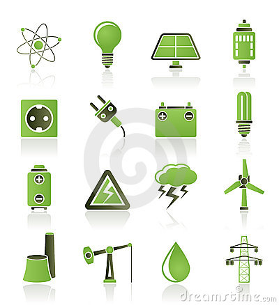 Power and electricity industry icons Vector Illustration