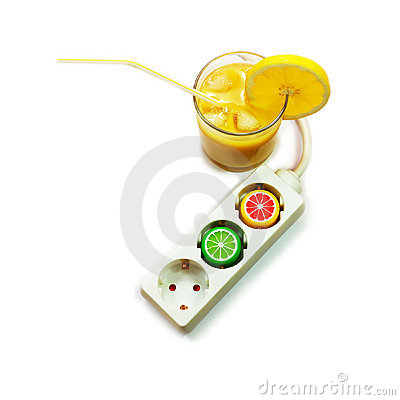 Power extension cord and glass of juice. Energy dr