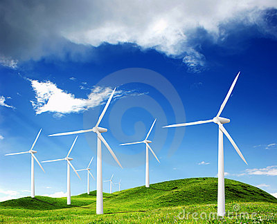Power Generating Windmills Stock Photo - Image: 13803010