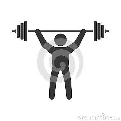 Free Power Lifting Icon. Man With Barbell Sign. Vector Royalty Free Stock Photo - 102213835