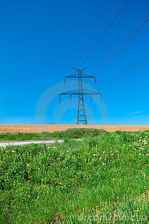 Power line against the blue sky