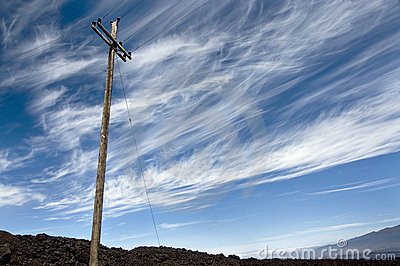 Power line against vibrant sky on the volcano.