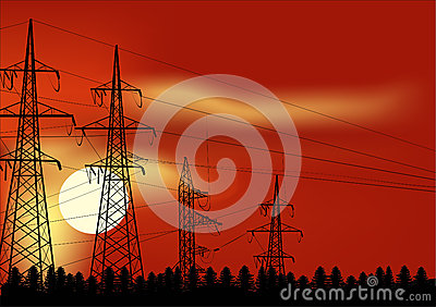 Power line in forest at red sunset