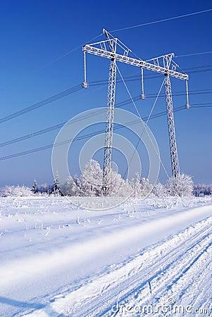 Power line in ice. Winter