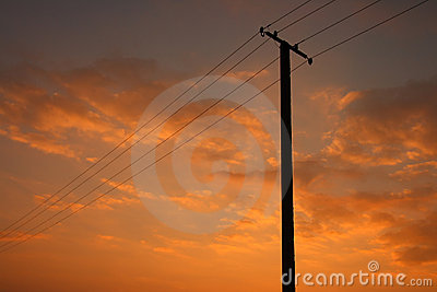 Power Line on orange sky