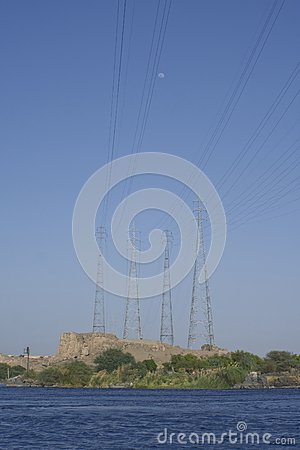 Power line over Nile river