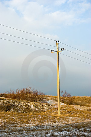 Power line in winter dune of Curonian spit