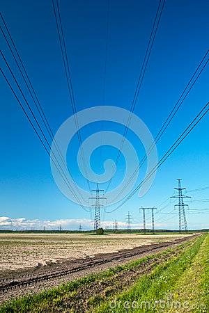 Power line wires run over field