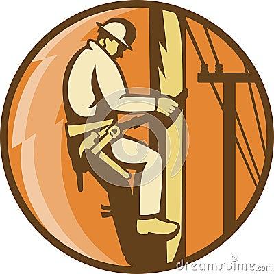 Power Lineman Electrician Climbing Utility Post