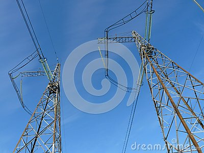 Power lines against the  blue sky
