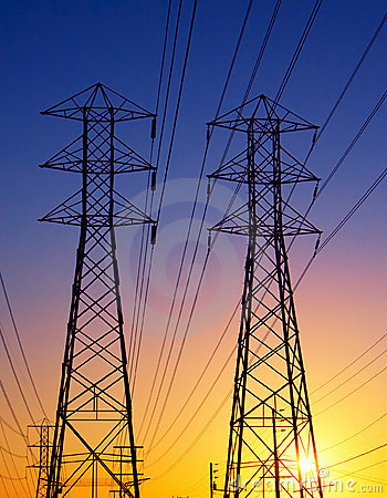 Free Power Lines At Sunset Royalty Free Stock Images - 9372179