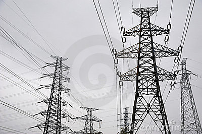 Power lines in black and white