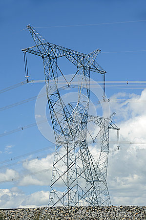 Power lines in Qinghai-Tibet Plateau