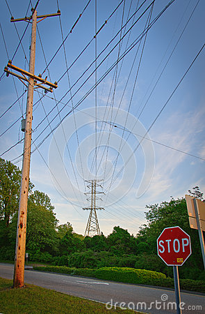 Free Power Lines & Stop Sign Royalty Free Stock Photo - 50969805