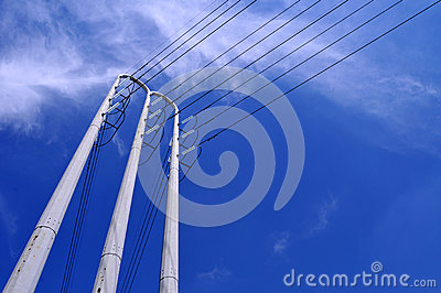 Power lines tilted