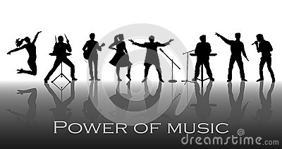 Power of music concept. Set of black silhouettes of musicians, singers and dancers Vector Illustration