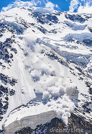 Free Power Of Nature. Avalanche In The Caucasus Stock Image - 65185221