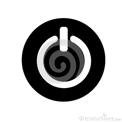 Free Power On Off Button Sign Icon,  Illustration. Flat Design Style. Black And White Icon Stock Photo - 79539000