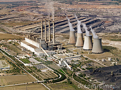 Power plant & coal mine, aerial