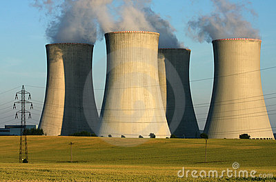 Power plant cooling towers in agriculture field