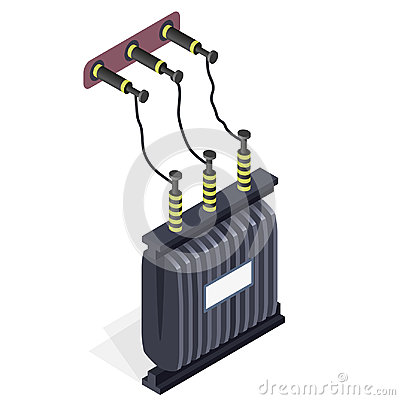 Free Power Plant Detail. Power Station Element. Electric Transformer Isometric Building. Stock Image - 94750821