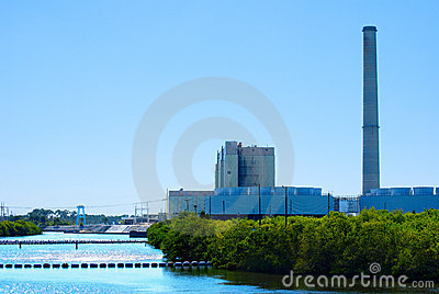 Power plant on a river