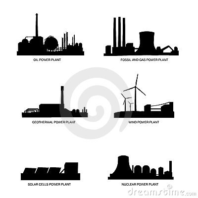Free Power Plants By Fuel Vector Silhouette Stock Photo - 8974750