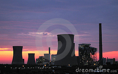 Power plants at the sunrise