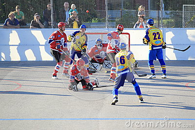 Power play in ball hockey Editorial Photo