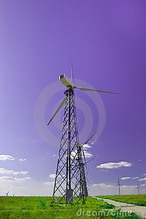 Power station - wind turbine against the blue