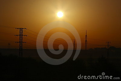 Power supply at sunrise