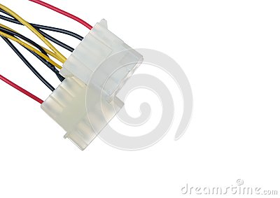 Power supply wires on white