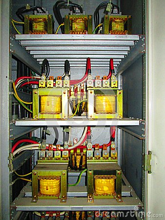 Power transformers in electrical panel