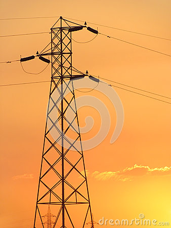 Power grid and electricity supply towers