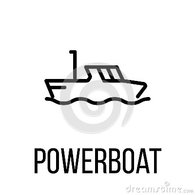 Powerboat icon or logo in modern line style. Vector Illustration