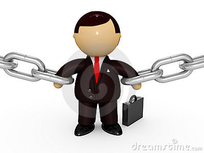 Powerful businessman holding chains