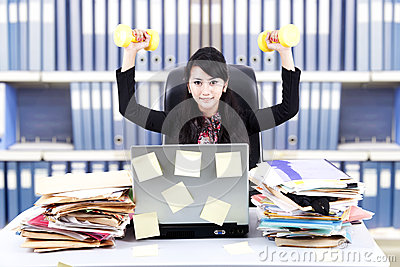 Powerful businesswoman at office
