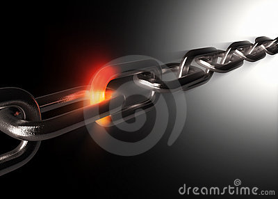 Powerful chain with hot fiery link