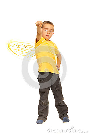 Powerful child boy with bee wings