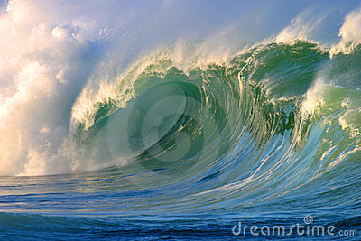 Powerful Crashing Surfing Wave Waimea Bay Hawaii Stock Photo