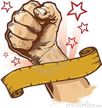 Powerful fist and banner vector illustration